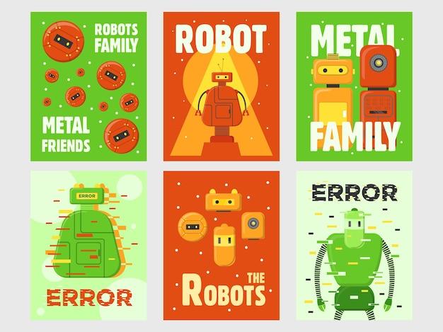 로봇 전단지 세트. 휴머노이드, 사이보그, 지능형 기계 벡터 일러스트는 녹색과 빨간색 배경에 텍스트가 있습니다. 포스터 및 인사말 카드 디자인을위한 로봇 공학 개념