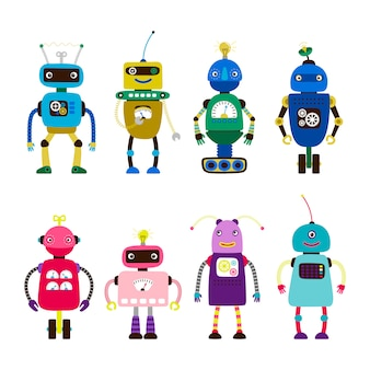 白い背景の上の男の子と女の子のためのロボット