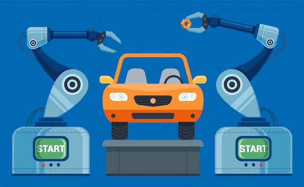 Robots hands collect on the conveyor car. vector illustration