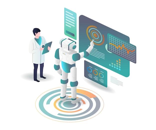 Роботы помогают врачам анализировать данные в изометрической иллюстрации