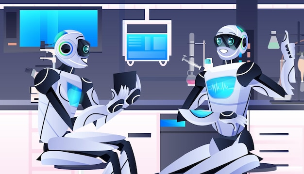 Robots holding test tube with liquid robotic chemists making experiments in lab genetic engineering artificial intelligence technology concept horizontal portrait vector illustration