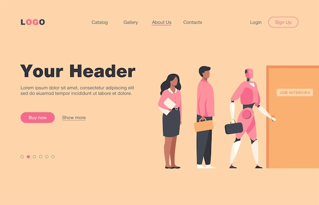 Robots and human candidates waiting in line for job interview. businessmen and businesswomen competing with machines for hiring.  landing page for employment, business, recruitment concept