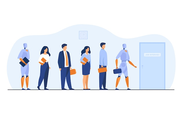 Robots and human candidates waiting in line for job interview. businessmen and businesswomen competing with machines for hiring. vector illustration for employment, business, recruitment concept
