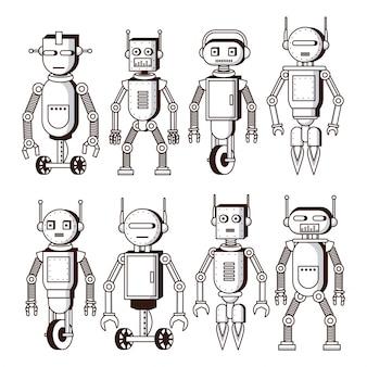 흑인과 백인 로봇 프리미엄 벡터