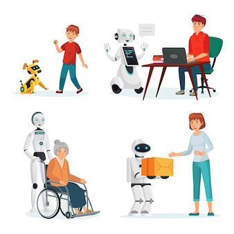 Robots interact with people in various situations. vector intelligence helper and courier, pet dog computer illustration