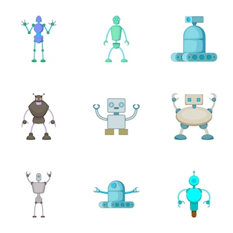 Robots invaders set, cartoon style