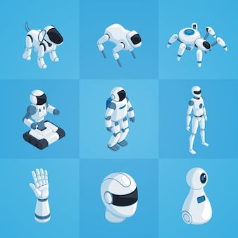 Robots isometric icons set