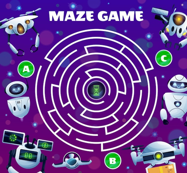 Robots labyrinth maze game, vector kid boardgame with ai robots, cyborgs and androids. worksheet riddle with round field, tangled path and three entries with sandglass in center. find correct way test