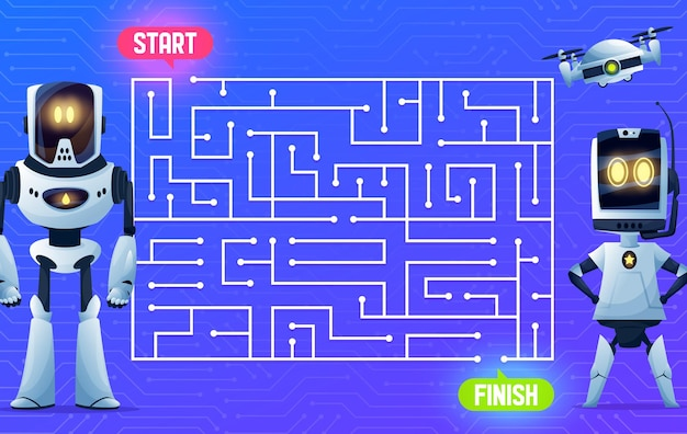 Robots on motherboard, labyrinth maze game, kids boardgame, vector cartoon. find way maze labyrinth escape or puzzle riddle with android robots, drone quadcopter and chatbots on computer motherboard
