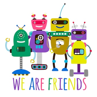 Robots print friendship concept card illustration