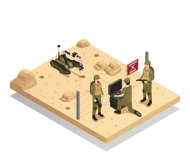 Robots sapper isometric composition