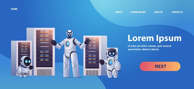 Robots in server room big cloud data analysis artificial intelligence technology