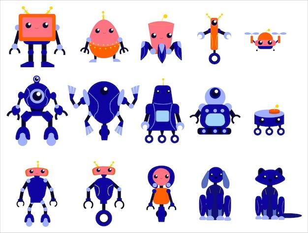 로봇 세트. 다양한 모양의 미래 캐릭터 그룹. 자동화에 대한 아이디어. 사이보그와 휴머노이드. 삽화