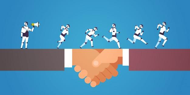Robots team running human handshaking boss hold megaphone artificial intelligence technology