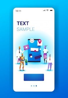 Robots team working in software develop user interface development artificial intelligence technology concept smartphone screen mobile app vertical full length copy space