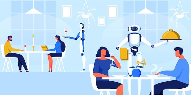 レストランのベクトル図でロボットウェイター。 Premiumベクター