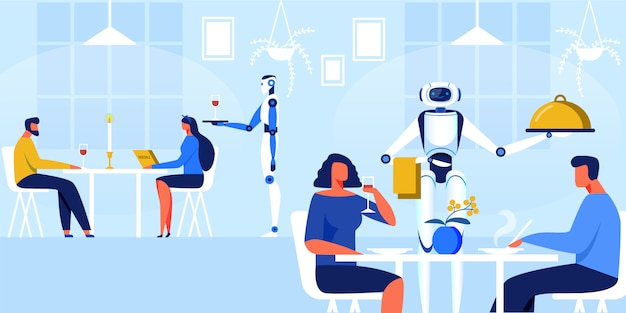 Robots waiters in restaurant vector illustration.
