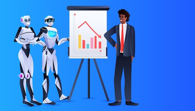 Robots with african american businessman analyzing financial statistics data on flip chart artificial intelligence technology concept horizontal full length