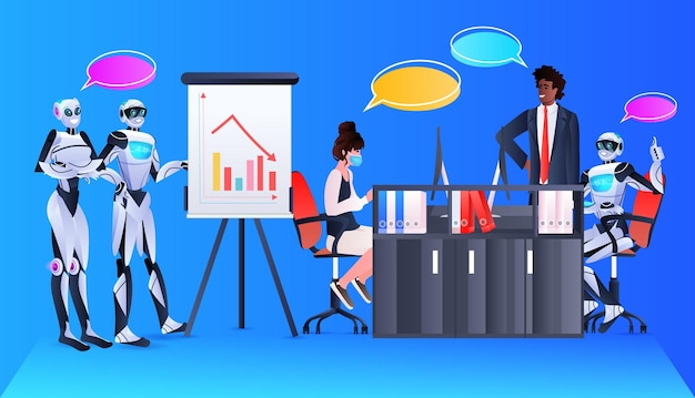 Robots with african american businessman analyzing financial statistics data on flip chart artificial intelligence technology concept office interior horizontal full length
