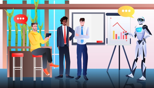 Robots with businesspeople analyzing financial statistics data on flip chart artificial intelligence technology concept office interior horizontal full length