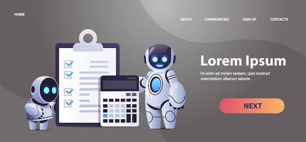 Robots with clipboard and calculator financial data report organization process analytics accounting artificial intelligence technology