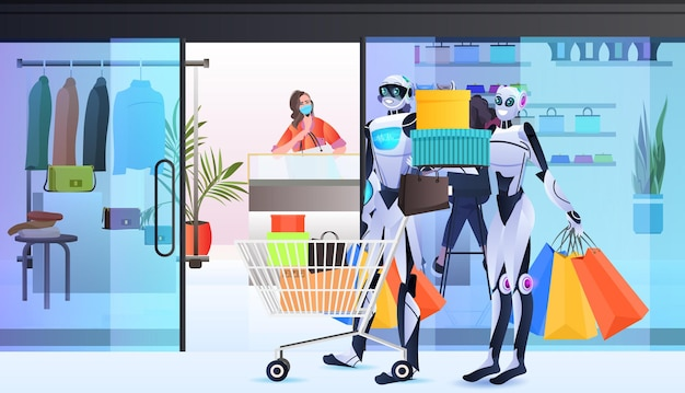 Robots with full of purchases trolley cart artificial intelligence technology shopping mall interior