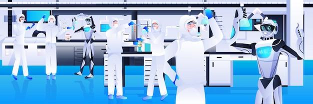 実験室の遺伝子工学人工知能の概念で実験を行う防護服を着た科学者とロボット