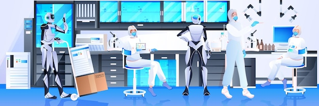 Роботы с учеными в защитных костюмах проводят эксперименты в лаборатории генной инженерии концепция искусственного интеллекта горизонтальная полная длина