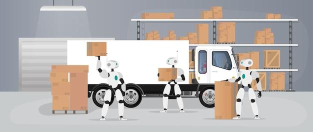 Роботы работают на производственном складе. роботы несут ящики и поднимают груз. футуристическая концепция доставки, перевозки и погрузки товаров. большой склад с ящиками и поддонами. вектор.