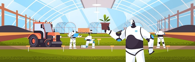 Robots working on organic products industrial plantation growing plants smart farming agribusiness artificial intelligence technology