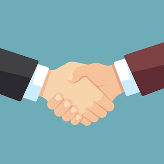 Robust handshake of businessmen. business team, agreement and big deal vector flat