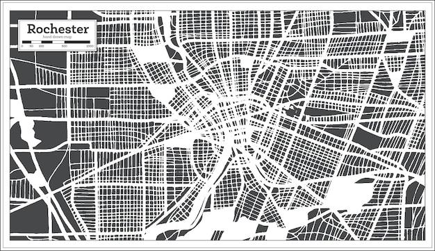 レトロなスタイルのロチェスターusa都市地図。白地図。ベクトルイラスト。