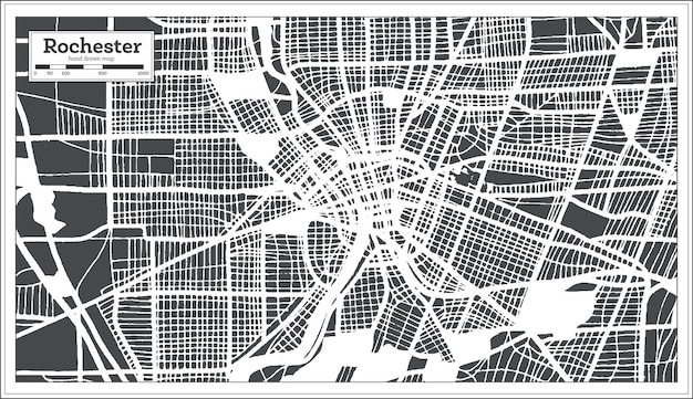 Rochester usa city map in retro style. outline map. vector illustration.