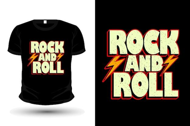 Рок-н-ролл рисованной типографии дизайн футболки Premium векторы