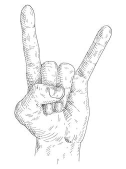 ロックンロールの手のサイン。ヴィンテージモノクログレーハッチングイラスト