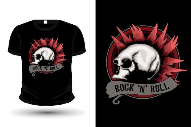 해골이 있는 로큰롤 일러스트 상품 티셔츠 디자인