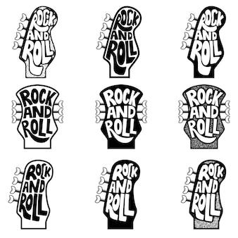 Рок-н-ролл. набор рисованной фразы на фоне головы шеи гитары. элемент для плаката, эмблемы, знака. иллюстрация