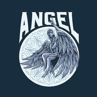 Rock in angel illustration
