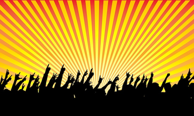 Silhouette di pubblico rock