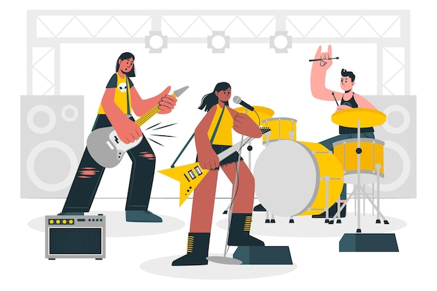 Illustrazione di concetto di rock band
