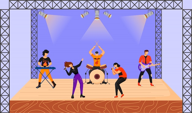 Rock band flat illustration. music group with two vocalists performing at concert. musicians playing together on stage. live musical performance. festival. cartoon characters