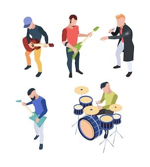 Рок-группа. изометрические музыкант люди с инструментами гитары барабан и микрофон вектор рок-концерт персонажи