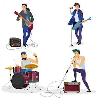 Rock band members isolated