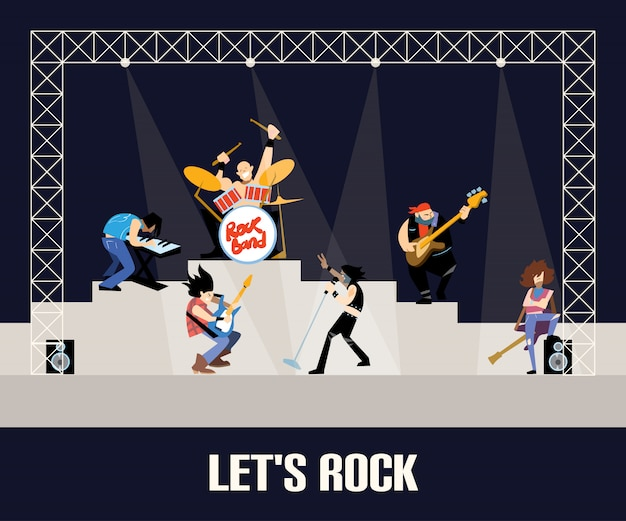 Rock band music group concert  illustration