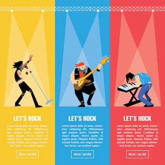 Rock band music group  illustration