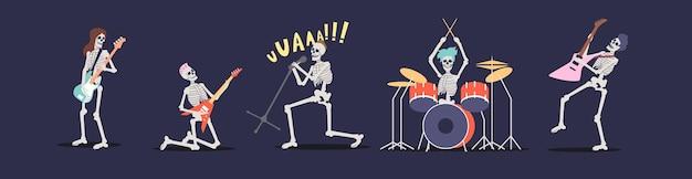 Рок-группа скелетов поет, играет на электрогитарах и барабанах. группа музыкантов для вечеринки в честь хэллоуина. мультфильм черепа музыкантов исполнителей панк-рока. плоские векторные иллюстрации