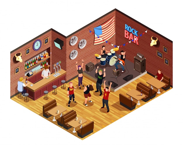 Rock bar isometric composition