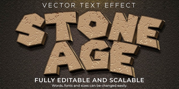 Rock cartoon text effect; editable rock and funny text style