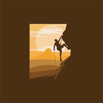 Rock climbing logo design illustration
