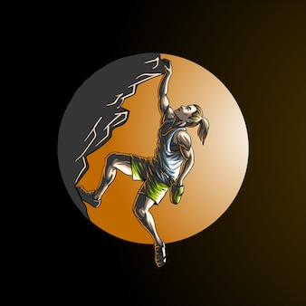 Rock climbing sport in circle isolated on dark